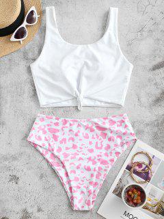 ZAFUL Knot Animal Print Tankini Swimsuit - Pink Xl