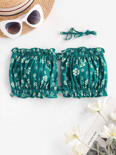 ZAFUL Ditsy Print Tie Bandeau Bikini Top - Medium Sea Green S