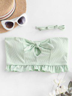 ZAFUL Ribbed Tied Keyhole Ruffle Bikini Top - Mint Green S