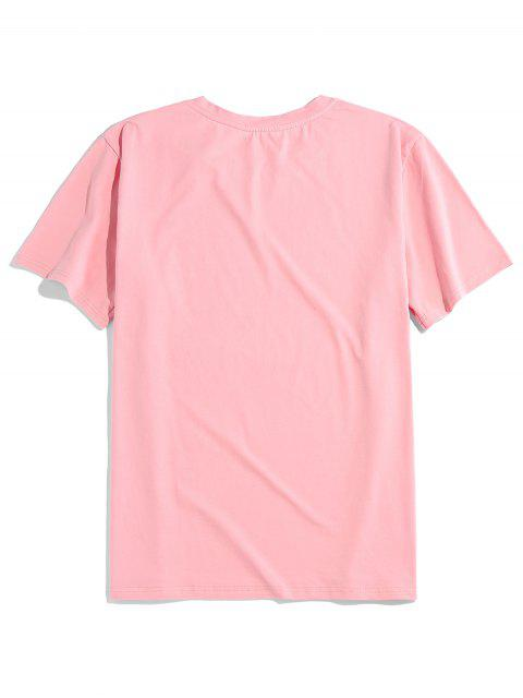 T-Shirt di ZAFUL Stampata Pianeta con Maniche Corte - Rosa M Mobile