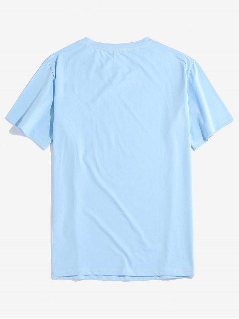 T-shirt Bordado Gráfico de Mangas Curtas - Azul claro M Mobile
