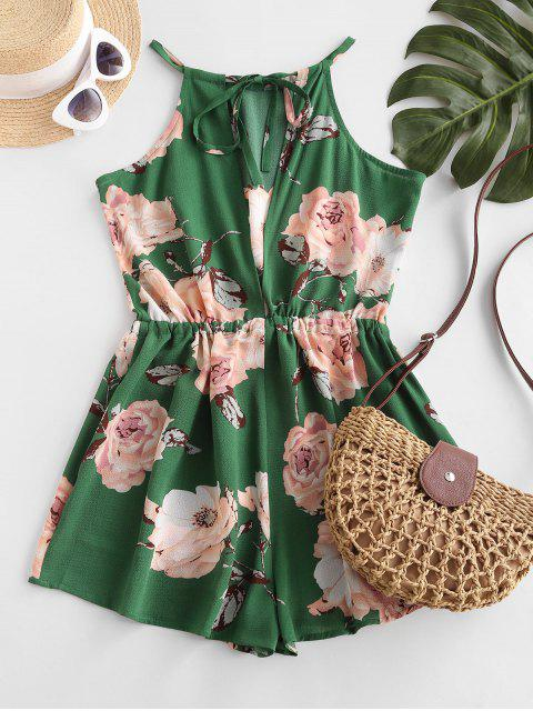 outfits Waist Drawstring Tassel Floral Romper - GREEN XL Mobile