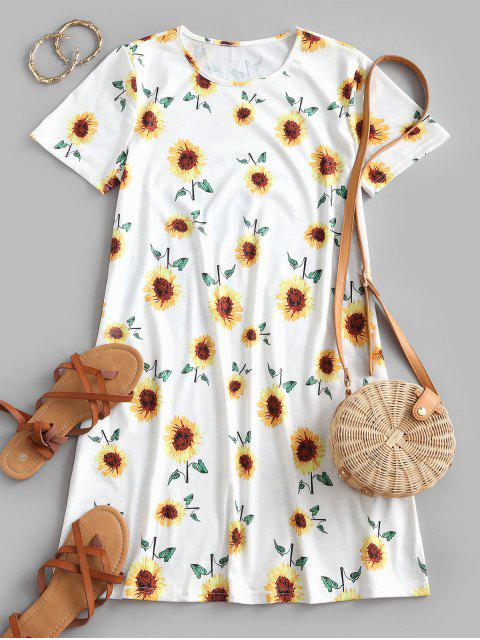 women Sunflower Print Trapeze T-shirt Dress - WHITE XL Mobile
