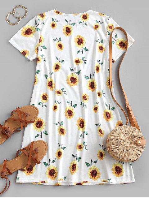 Sunflower Print Trapeze T-shirt Dress - أبيض XL Mobile