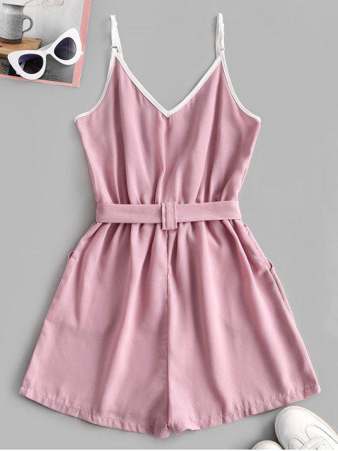 Pagliaccetto a Contrasto con Cintura e Spalline Sottili - Rosa Rosa M Mobile