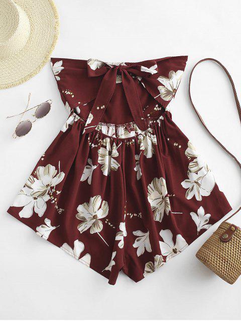 sale Floral Tie Back Twist Strapless Romper - RED WINE M Mobile