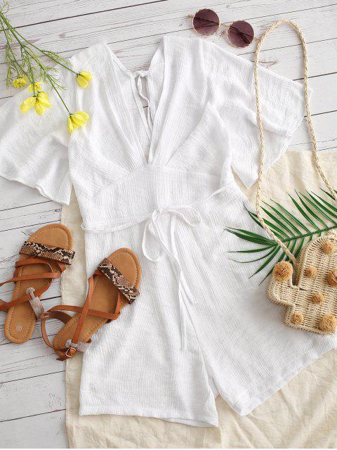 women's Textured Tie Backless Flutter Sleeve Plunge Romper - WHITE S Mobile