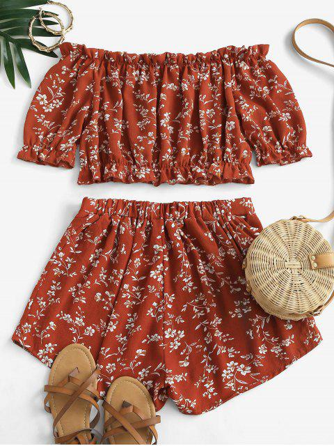 lady Cropped Ditsy Floral Off Shoulder Two Piece Set - RED M Mobile