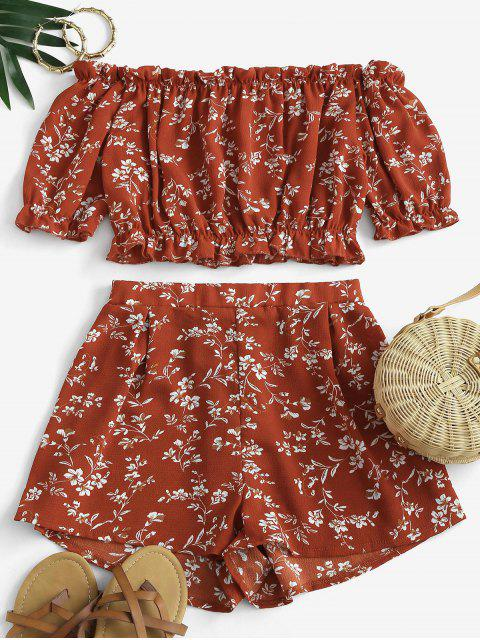 shop Cropped Ditsy Floral Off Shoulder Two Piece Set - RED L Mobile