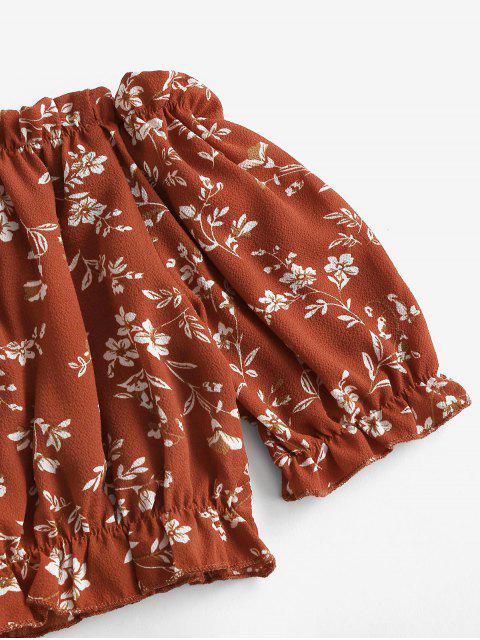Schulterfreies Zweiteiliges Set mit Abgeschnittenem Blumenmuster - Rot XL Mobile