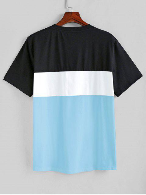 ZAFUL T-shirt de Mangas Curtas Padrão de Cor - Dia Céu Azul L Mobile