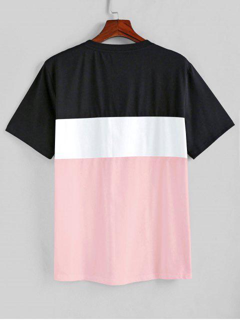 ZAFUL T-shirt de Mangas Curtas Padrão de Cor - Rosa de Porco L Mobile
