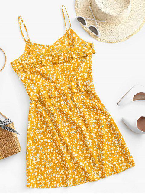 ZAFUL Rüschen Ditsy Blumen Cami Minikleid - Gelb M Mobile
