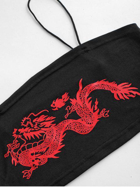 lady Dragon Print Oriental Mini Bodycon Skirt Set - BLACK L Mobile