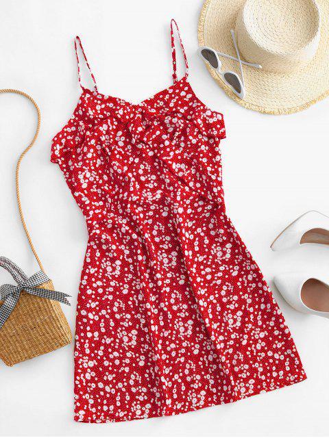 ZAFUL Rüschen Ditsy Blumen Cami Minikleid - Rot L Mobile