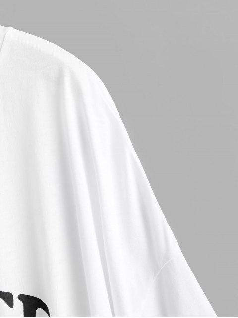 shop Boyish Letter Graphic Oversized Drop Shoulder Tunic Tee - WHITE S Mobile