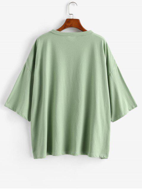 fancy Boyish Letter Graphic Oversized Drop Shoulder Tunic Tee - LIGHT GREEN S Mobile