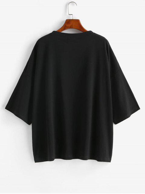 T-shirt Tunique Lettre Graphique à Goutte Epaule Surdimensionné - Noir M Mobile