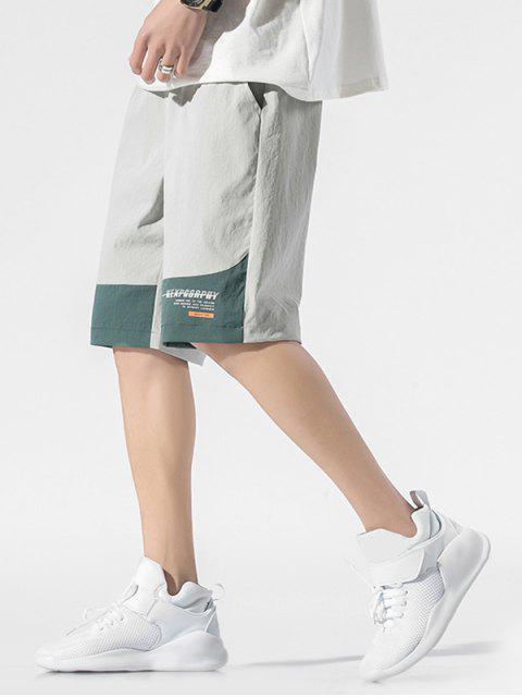 women Colorblock Panel Letter Drawstring Shorts - GRAY XS Mobile