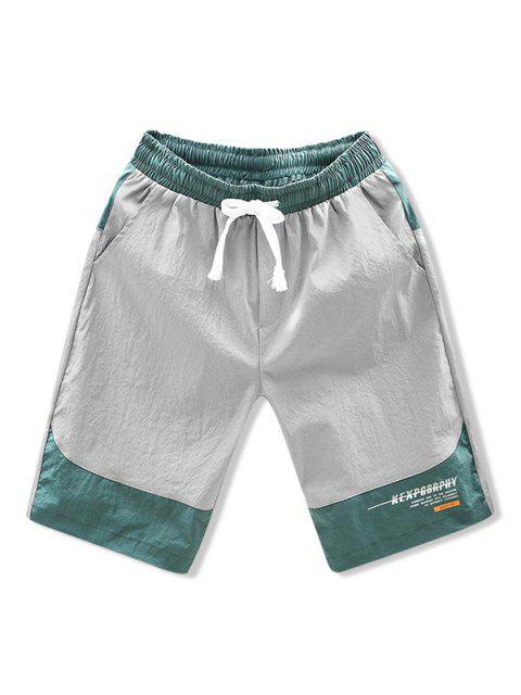 best Colorblock Panel Letter Drawstring Shorts - GRAY XL Mobile