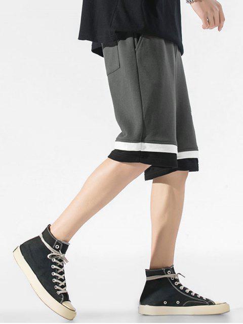 hot Letter Print Layered Hem Sweat Shorts - DARK GRAY XS Mobile