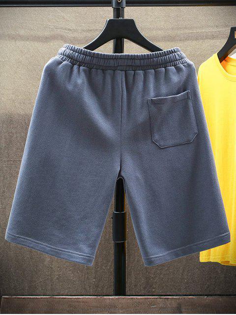 unique Letter Graphic Casual Straight Shorts - MIST BLUE XS Mobile