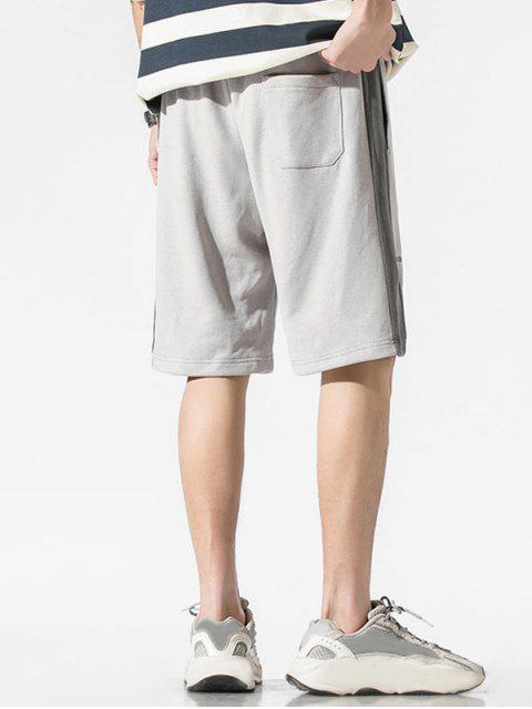 trendy Drawstring Letter Print Contrast Sweat Shorts - LIGHT GRAY XS Mobile