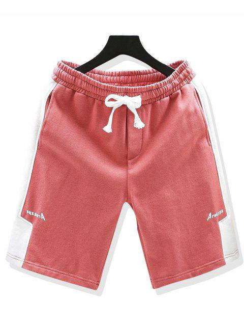 women Drawstring Letter Print Contrast Sweat Shorts - LIGHT PINK XL Mobile
