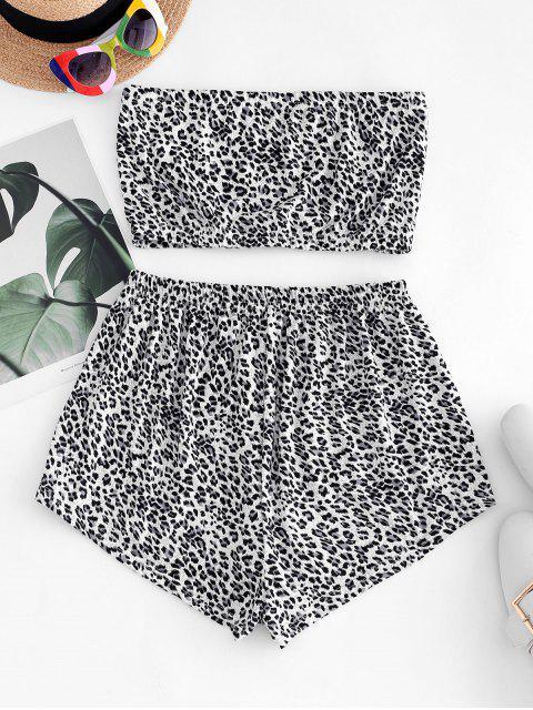 latest ZAFUL Two Piece Snake Leopard Bandeau Top Set - WHITE L Mobile