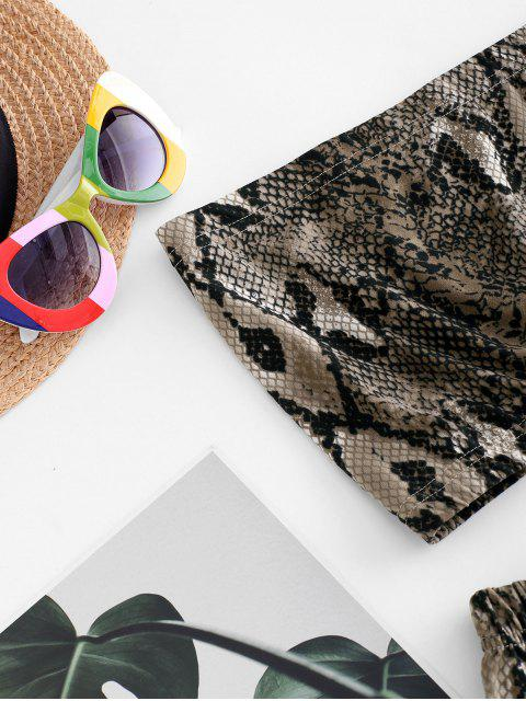 trendy ZAFUL Two Piece Snake Leopard Bandeau Top Set - COFFEE S Mobile