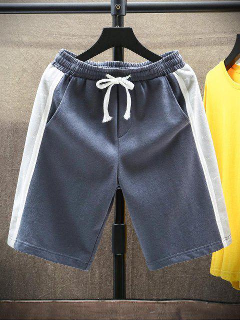 fancy Letter Print Drawstring Contrast Sweat Shorts - MIST BLUE S Mobile