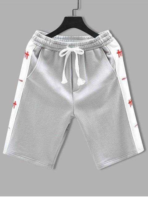 chic Drawstring Letter Embroidered Contrast Trim Shorts - LIGHT GRAY 4XL Mobile