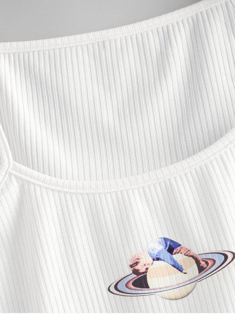 unique Ribbed Planet Graphic Crop Cami Top - WHITE M Mobile