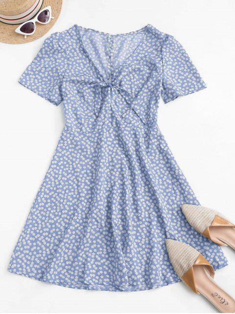 affordable Ditsy Print Tie Knot Plunging Mini Dress - LIGHT BLUE L Mobile