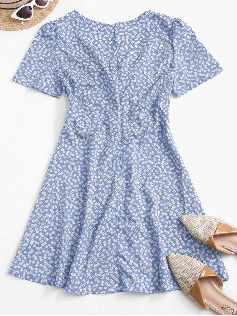 womens Ditsy Print Tie Knot Plunging Mini Dress - LIGHT BLUE S Mobile