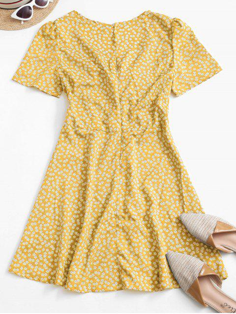 women's Ditsy Print Tie Knot Plunging Mini Dress - YELLOW M Mobile
