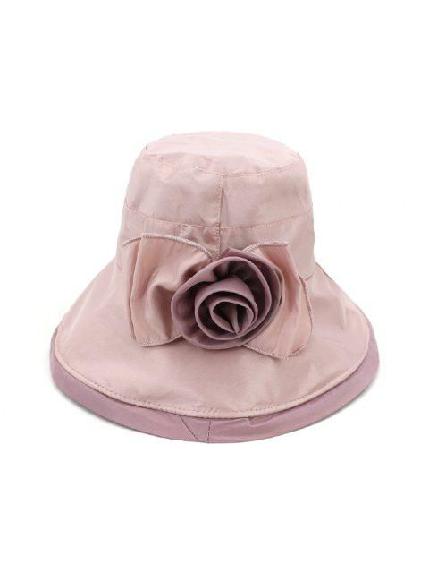 Bowknot Wide Brim Bucket Hat - Hell-Pink  Mobile