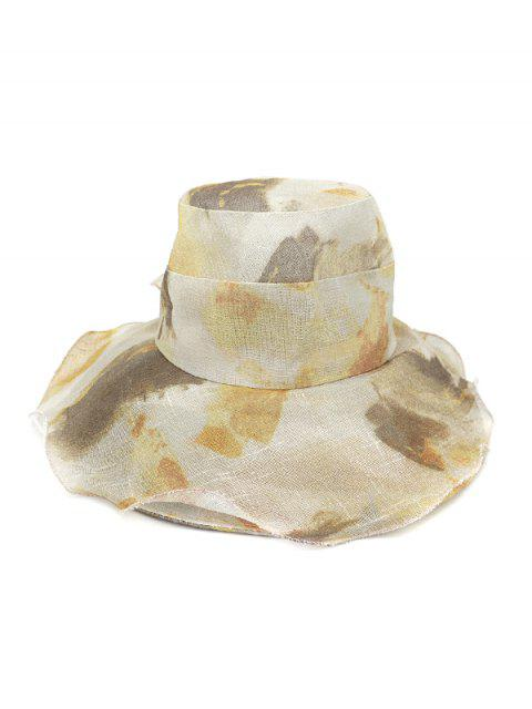 online Water Color Floral Wide Brimmed Beach Sun Hat - KHAKI  Mobile