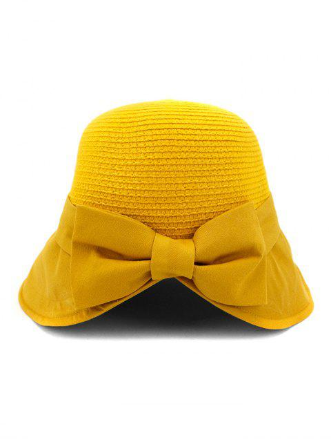 outfit Back Bowknot Wide Brim Basin Straw Hat - YELLOW  Mobile