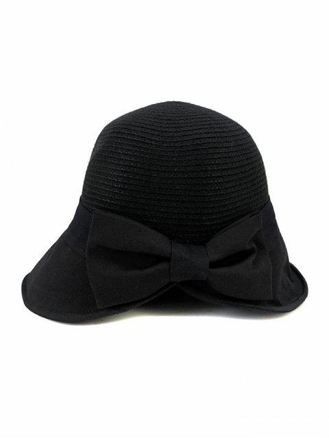 outfits Back Bowknot Wide Brim Basin Straw Hat - BLACK  Mobile