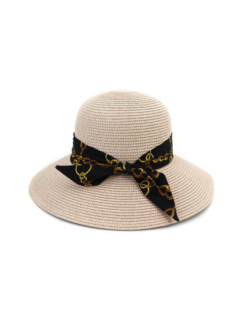 latest Chain Print Bowknot Wide Brim Straw Hat - LIGHT PINK  Mobile