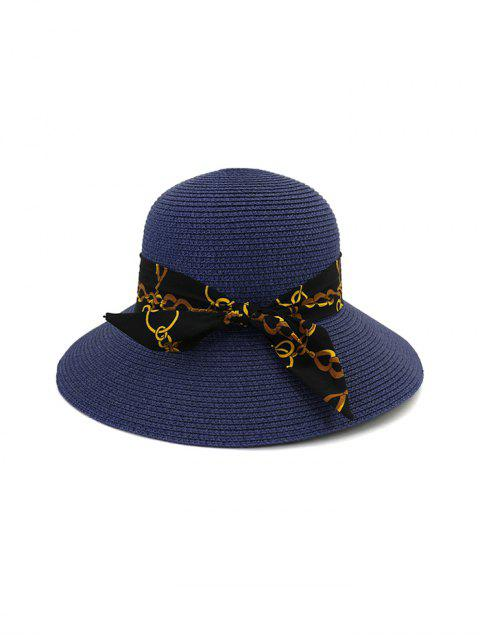 trendy Chain Print Bowknot Wide Brim Straw Hat - CADETBLUE  Mobile