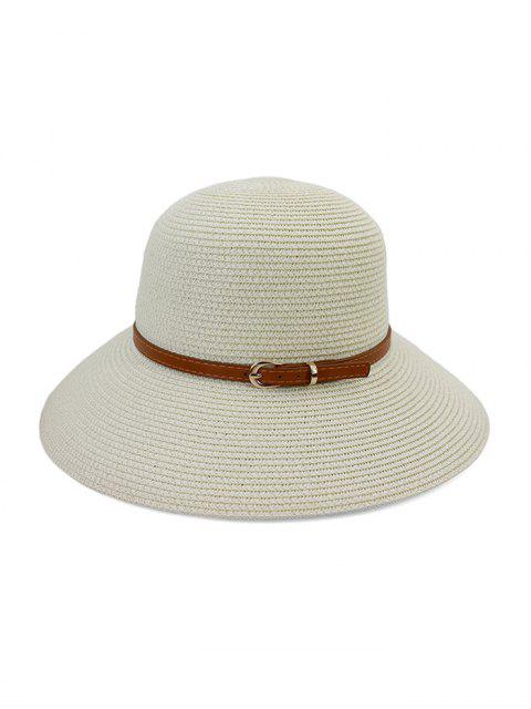 outfits Contrast Belt Wide Brim Straw Hat - WHITE  Mobile