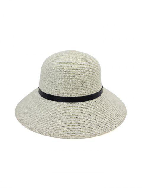 Breiter Krempe Stroh Hut mit Leder - Weiß  Mobile