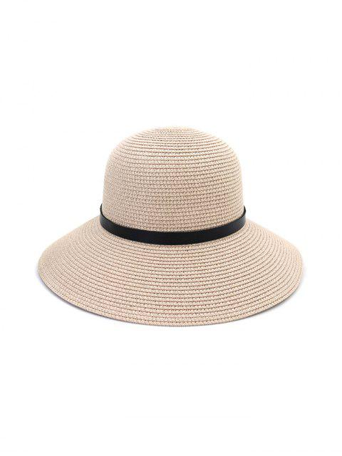 sale Wide Brim Straw Hat With Leather Detail - LIGHT PINK  Mobile