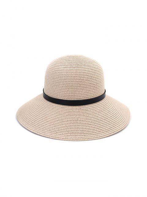 Cappello di Paglia con Visiera Larga in Pelle - Rosa chiaro  Mobile