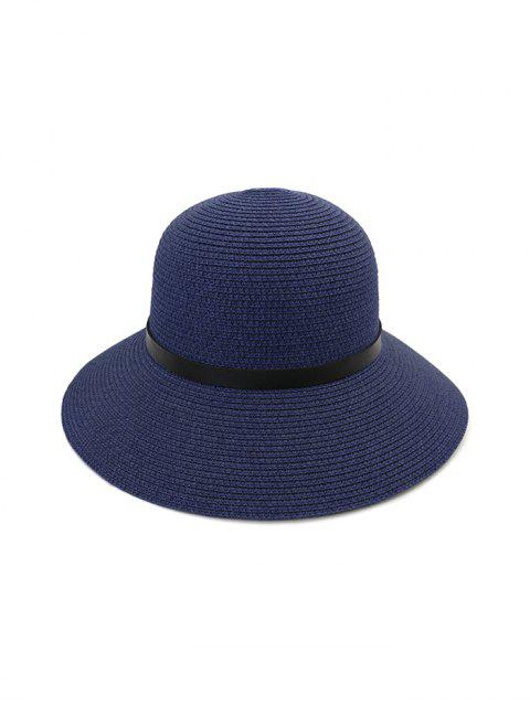 affordable Wide Brim Straw Hat With Leather Detail - CADETBLUE  Mobile