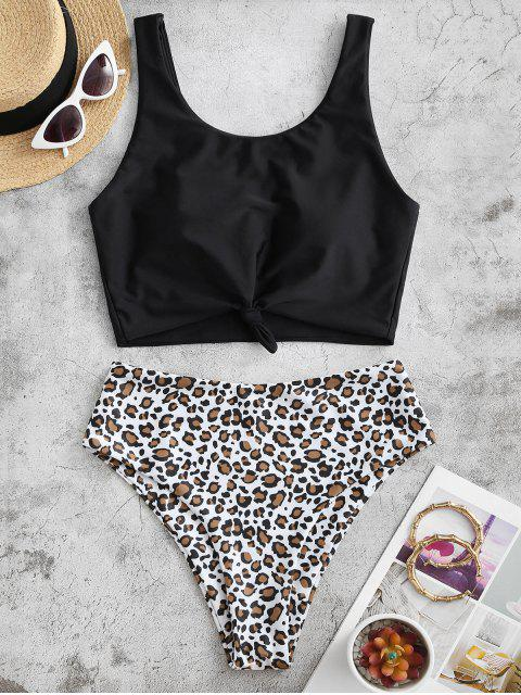 unique ZAFUL Knot Animal Print Tankini Swimsuit - LEOPARD S Mobile