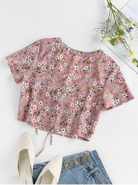 fashion ZAFUL Ditsy Print Tie Front Plunging Crop Blouse - PINK M Mobile