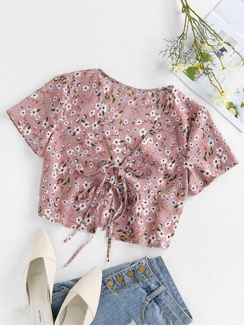 hot ZAFUL Ditsy Print Tie Front Plunging Crop Blouse - PINK S Mobile